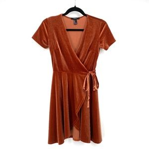 Forever 21 bronze faux velvet wrap dress S